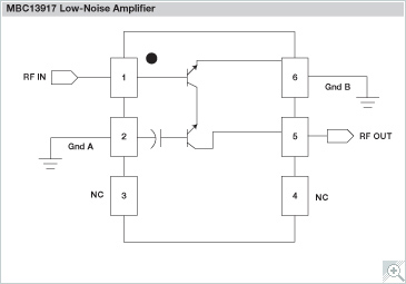 NXP<sup>&#174;</sup> MBC13917 Low Noise Amplifier Block Diagram