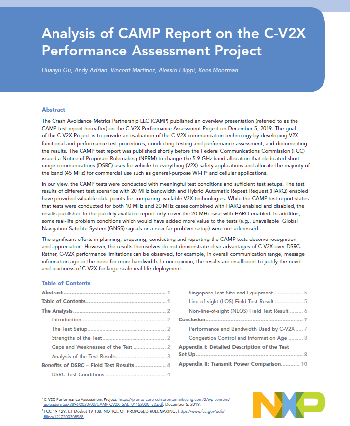 CAMP Report on the C-V2X Performance Assessment Project Image